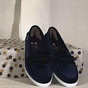 Cole Haan womens Nantucket loafers, blue velvet